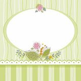 Postcard, frame, green, striped, oval, flowers, bouquet. Stock Image