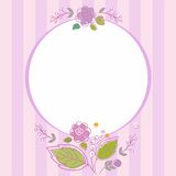 Postcard, frame, lilac, striped with flowers. Royalty Free Stock Photos