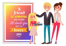 Postcard for Friend and Happy Family Illustration. Friend is someone who knows all about you and still loves you. Postcard with quote and happy family with Stock Photos