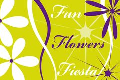 Postcard fun fiesta flowers. Green purple white Stock Photo