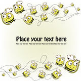 Postcard with a funny bees. Flying yellow good and evil bees on yellow background stock illustration
