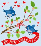 Postcard with funny birdies on the Valentine's day. Vector. Color image of birds, flowering branches and hearts with the words Valentine`s Day in a flat style Stock Image