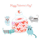 Postcard Funny Cats and the bank with hearts Stock Photo