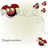 Postcard with a funny ladybugs. Evil flying red ladybugs on white background royalty free illustration