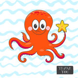 Postcard with a funny octopus. Royalty Free Stock Photo