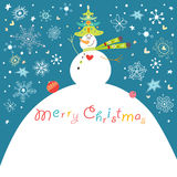 Postcard funny snowman. Funny snowman with a tree on the background of snowflakes Royalty Free Stock Photography