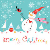 Postcard funny snowman with a bird. Funny snowman in a red cap and a bird on a background with snowflakes Stock Images