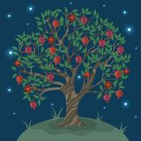 Postcard with a ganat tree against the night sky. Vector illustration stock illustration