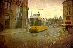 Postcard  from Germany (series). Artistic work of my own in retro style - Postcard from the former GDR. - Tram - Berlin, Germany Royalty Free Stock Image