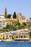 Postcard from Gialos town Royalty Free Stock Photos