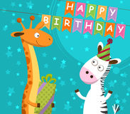 Postcard with giraffe and zebra, which celebrate the birthday. Vector. Illustration stock illustration