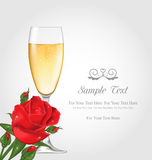 Postcard with Glass of Champagne and Rose Stock Photo