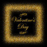 Postcard with gold text for Valentine s Day Stock Photography