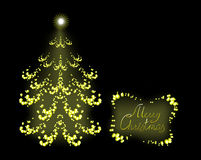 Postcard with golden Christmas tree. EPS10 vector. Illustration Stock Photography
