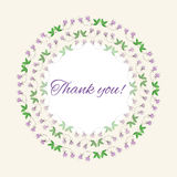 Postcard gratitude with romantic flowers and light. Pastel background Royalty Free Stock Photography
