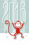 Postcard gray-green, red monkey, 2016, New year. Gray postcard with red monkey hanging on a big white numbers. Colored, flat, Christmas card stock illustration