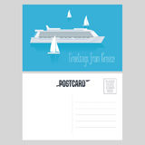 Postcard from Greece vector illustration with cruise liner in Mediterranean sea. Greek islands design element, clipart Royalty Free Stock Images