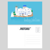 Postcard from Greece vector illustration with Santorini island Royalty Free Stock Image