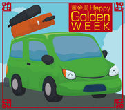 Postcard with Green Car in Road Trip for Golden Week, Vector Illustration Royalty Free Stock Photo