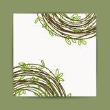 Postcard with green leaf decoration for your Royalty Free Stock Images