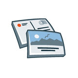 Postcard or greeting card icon in cartoon style Stock Image