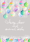 Postcard, greeting card or invitation with watercolor colored Christmas balls Royalty Free Stock Images