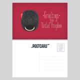 Postcard with greetings from United Kingdomwith beefeater guard`s hat vector illustration Stock Image