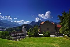 Postcard from Gruyères royalty free stock photos