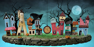 Postcard Halloween. Festive greeting card or poster with bizarre letters in the form of  house for Halloween. Computer graphics Stock Images