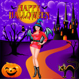 Of a postcard on Halloween girl castle and the cat Royalty Free Stock Photo