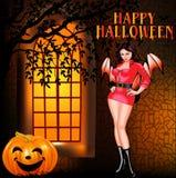 Of a postcard on Halloween girl window and pumpkin Stock Photography