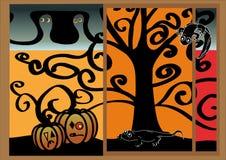 Postcard halloween, illustrated Stock Photo