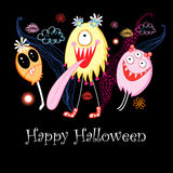 Postcard Halloween monsters Royalty Free Stock Photography
