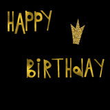 Postcard happy birthday. Happy birthday gold glitter letters on a black background Royalty Free Stock Image