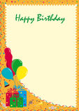 Postcard Happy Birthday. Orange card Happy Birthday with gifts and balloons Stock Image