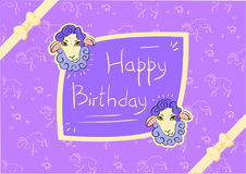 Postcard Happy Birthday with sheeps royalty free stock image