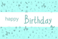 Postcard Happy Birthday. Text Happy Birthday on an  white background. On a blue background balloons, cakes, gifts. Vector illustration Royalty Free Stock Image