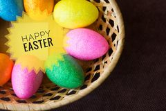 Postcard Happy Easter. Congratulations on a religious holiday. Orthodox holiday royalty free stock photos