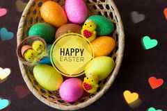 Postcard Happy Easter. Congratulations on a religious holiday. Orthodox holiday stock photography