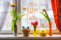 Postcard Happy Easter. Congratulations on a religious holiday. Orthodox holiday royalty free stock image