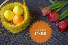 Postcard Happy Easter. Congratulations on a religious holiday. Orthodox holiday stock photo