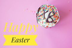 Postcard Happy Easter. Congratulations on a religious holiday. Orthodox holiday royalty free stock images