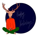 A postcard of happy holidays, royalty free illustration