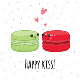 Postcard Happy kiss. Lovers macaroon. Royalty Free Stock Photo