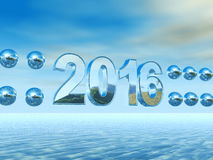 Postcard - Happy New Year 2016. With blue text Stock Photography