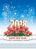 Postcard Happy New Year 2018 with a bouquet of roses. With fireworks on a blue background Royalty Free Stock Photos