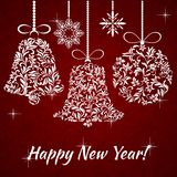 Postcard: Happy New Year! Christmas decorations from a floral or. Happy New Year! Christmas decorations from a floral ornament. Suitable for greeting card royalty free illustration