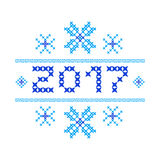 Postcard Happy new year 2017. Cross-stitch. Traditional embroidery. Blue snowflakes. Vector illustration royalty free illustration
