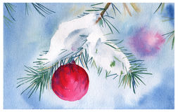 Postcard happy new year. Fir branch with Christmas ball. watercolor illustration. Royalty Free Stock Photography