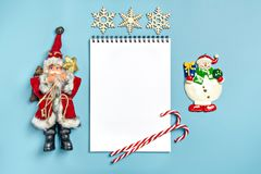 Postcard Happy New Year Flat lay composition with scroll and Christmas decor stock photos